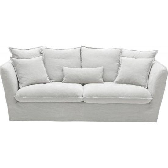 nouveau produit 8ceef 608c4 Canapé 3 places cocooning Paros en lin blanc 212x105xH77cm ...