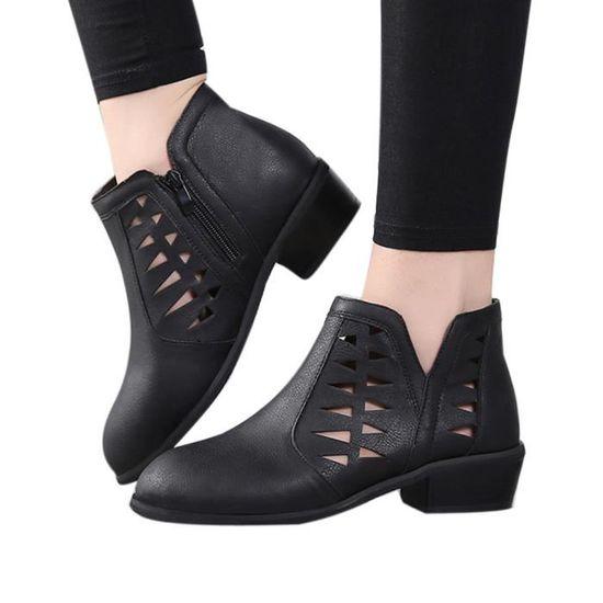 Femmes Vintage Chunky talons bas talon épais botte courte cheville bottillons Chaussures creux Noir Noir - Achat / Vente botte