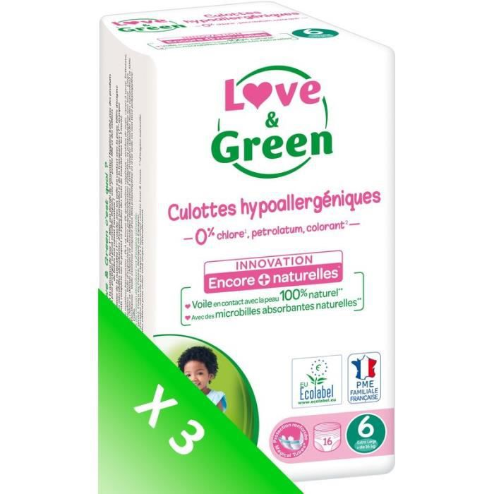 LOVE AND GREEN Culottes T6 - 48 couches - Eco Pack
