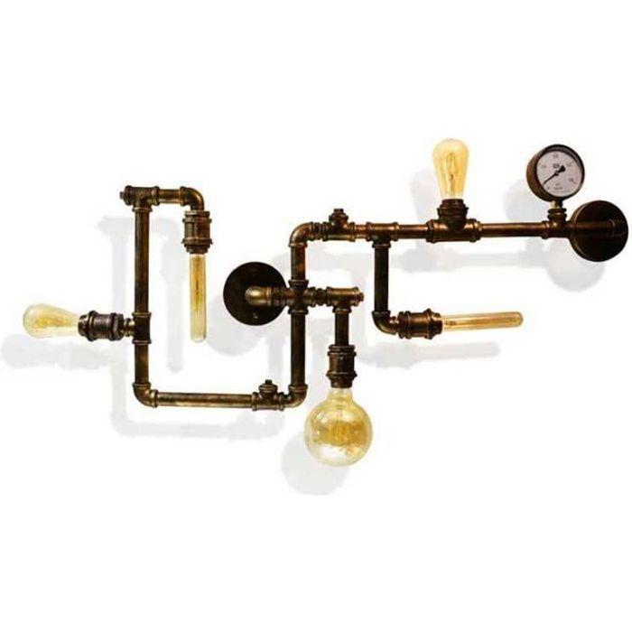 lampe murale de style industriel vintage de tuyauterie copper achat vente lampe murale de. Black Bedroom Furniture Sets. Home Design Ideas