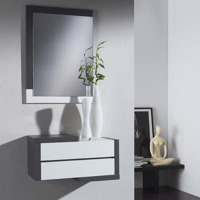 Meuble d entrée moderne couleur bois gris et blanc LOUXOR - Achat ...