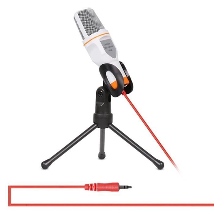 (#144) Professional Condenser Sound Recording Microphone With Tripod Holder, Cable Length: 1.3m, .(white)