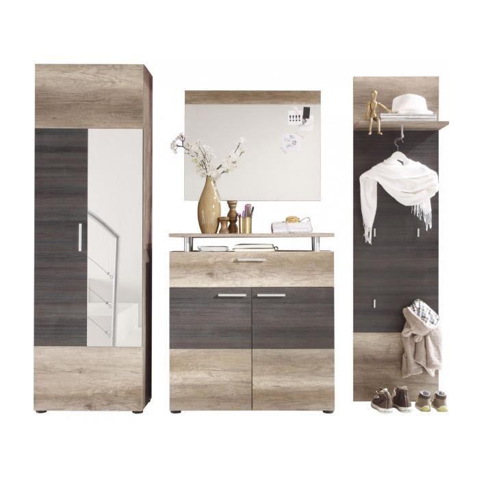 ab86d696d568d9 Ensemble vestiaire avec armoire 2 portes + meuble à chaussure + miroir et  meuble vestiaire coloris chêne clair et foncé