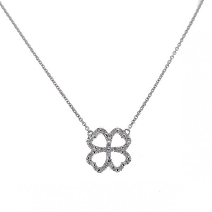 Collier chaîne Trèfle porte bonheur avec diamants en Or blanc