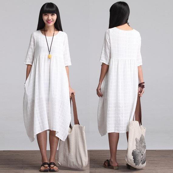 29863d974cb Ample robe longue Maxi - robe d été en blanc - manches courtes coton ...