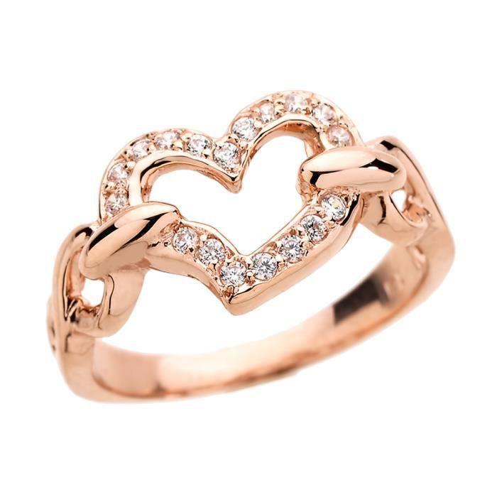 Bague Femme 10 ct Or rose 471/1000 Diamant Infinité  Cœur Love