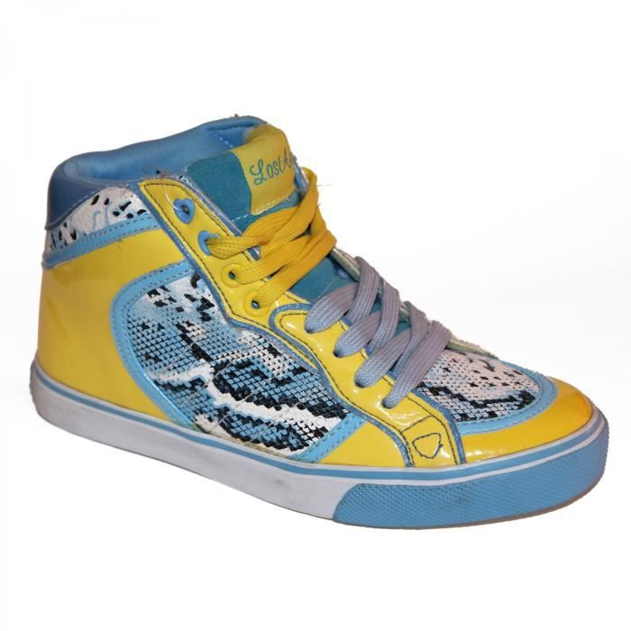 samples shoes HI TOP LOST ANGELS SNAKE BLUE YELLOW WOMEN