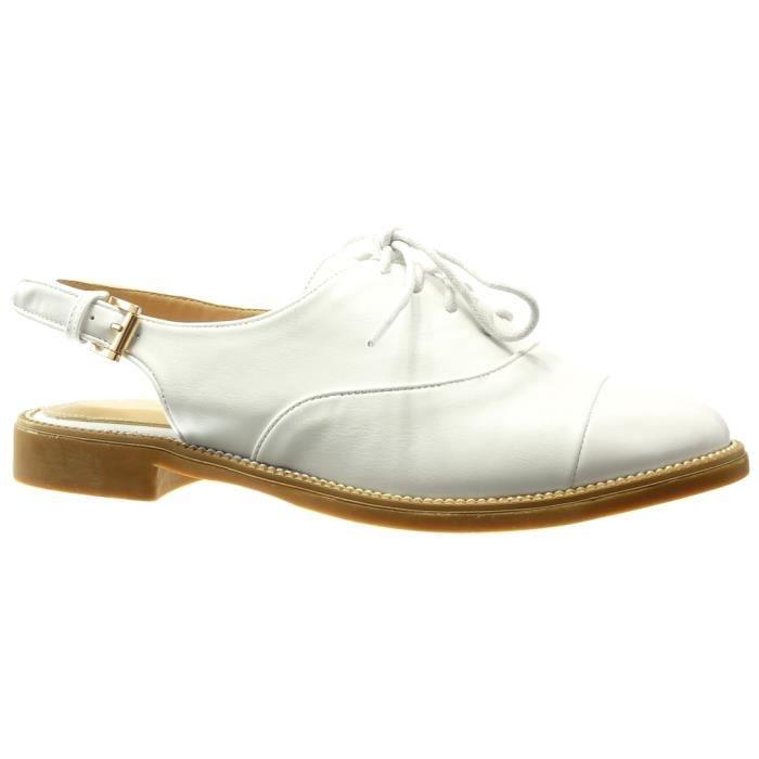 Sandale Finition Boucle Ouverte Bloc Mode Blanc Coutures Surpiqûres Talon Femme Richelieu T 2 Angkorly Cm 41 Wh807 Chaussure RqAn0IxYtt
