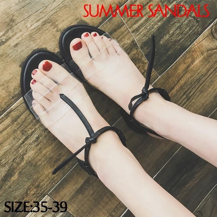 Sandales romaines Bas-talons Sandales transparentes Chaussures ouvertes Chaussures Femmes