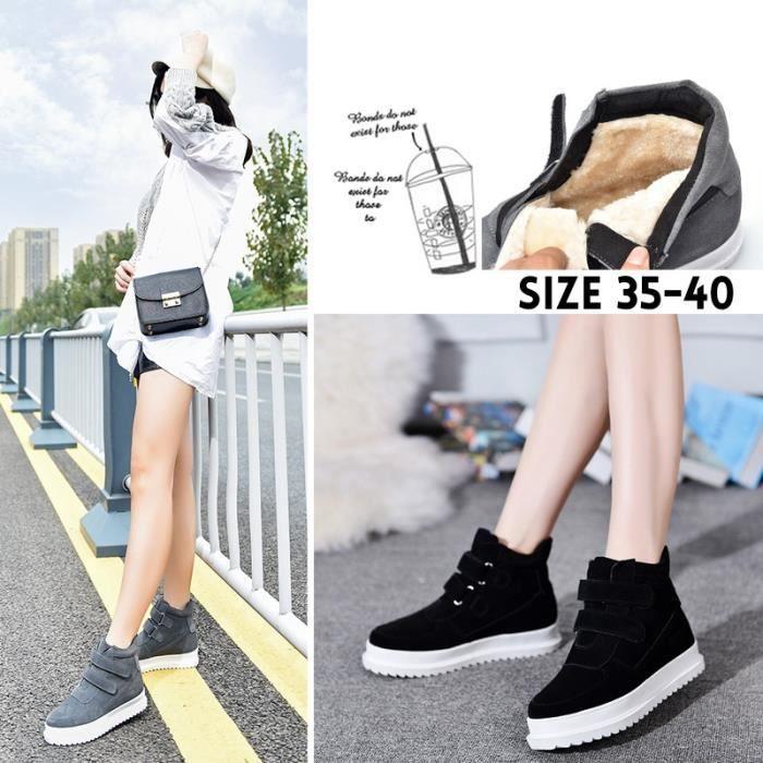 Bottes pour Femmegris 40 Mode haute Hauts de femme Mode hiver plus Cachemire Matte chaussures chaudes en cuir (noir, g_45503