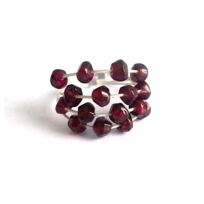 Gemshine - Femmes - Bague - Argent 925 - Grenat - rouge foncé, taille de lanneau: 57 (18.1)