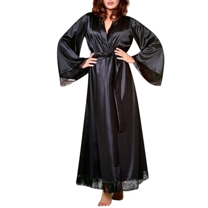 27e2d4265a939 Sexy Kimono Chambre Noir Femmes Longue Soie Chemise Nuit Robe De En Bain  Babydoll Lingerie 6Spwdq
