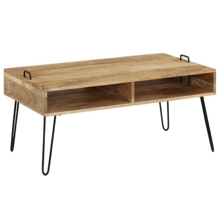 rencontrer d0151 dbc87 TABLE BASSE SCANDINAVE - TABLE BASSE BOIS de manguier massif 100 x 60 x 45  cm