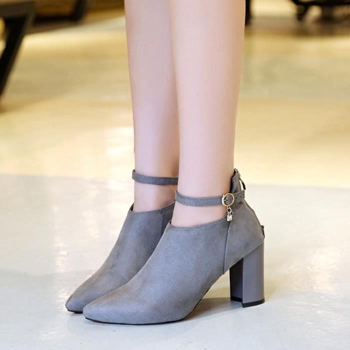 Femmes Parti Suede Strappy Épais Talons Hauts Matant Sandales Chaussures ClassiquesGris PO99