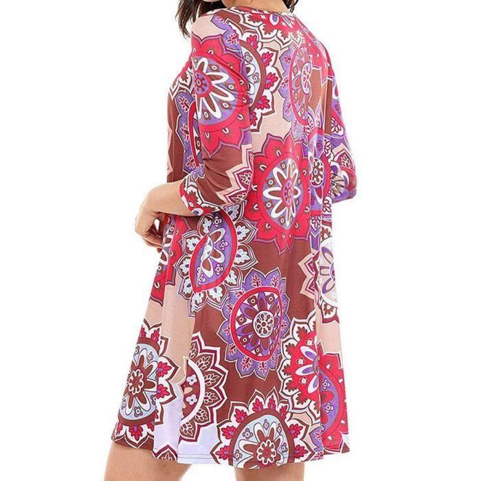 Casual Genoux Élastique Minirouge Impression Parti Femmes Robe D9WE2IYH