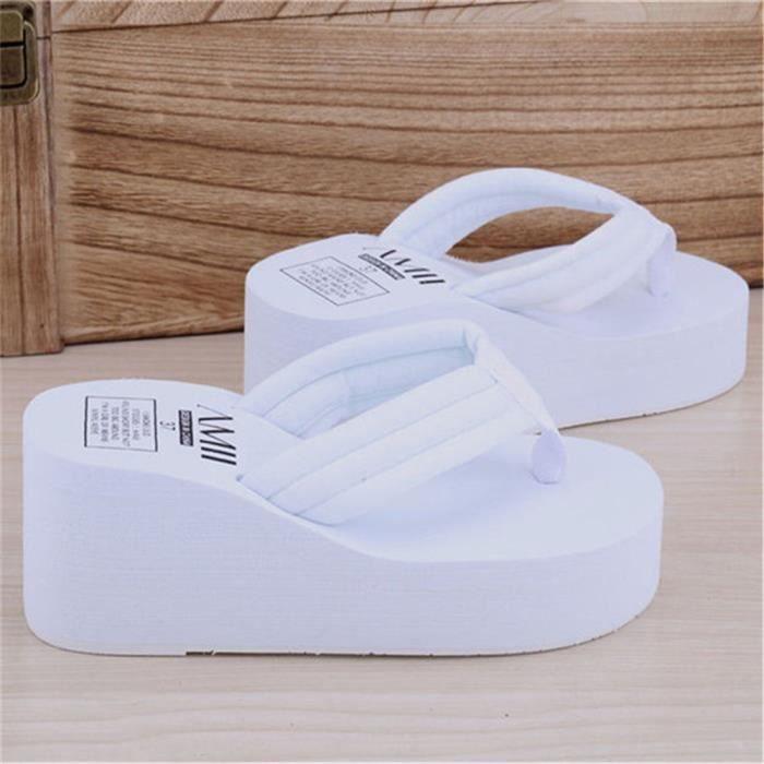 D'été Femmes Wedge Plate Haute Pantoufles Forme Flops Talons Chaussures Hauts Épais Plage Dames Sandales Plage Flip de dOqrOHnxpw