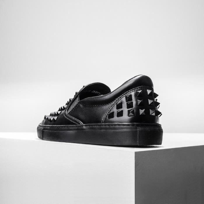 hommes rivet personnalité chaussures en cuir de vache punk glisser sur la chaussure de richelieus plat paresseux jeunes mocassins ikvdQ6N