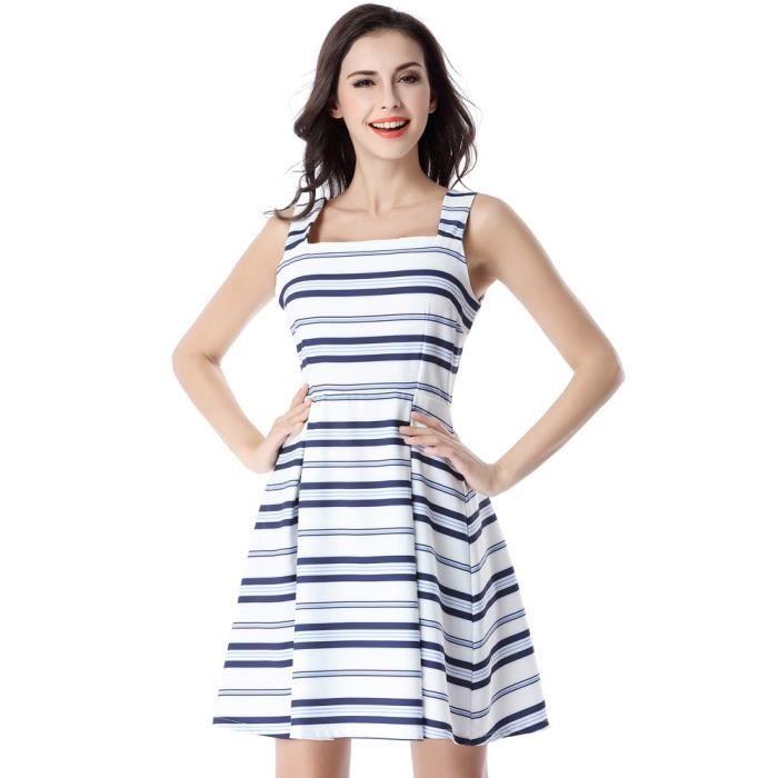 Blanc féminin et rayé bleu carré Collar réservoir Robe drapée Summer Fashion Casual Mignon Party Fit 2W8JOL Taille-38