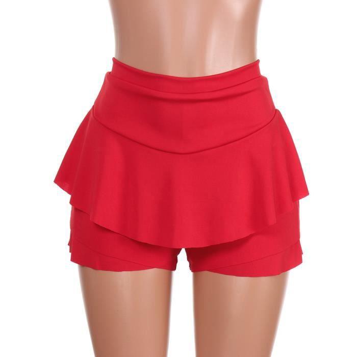 Haute Jupes Femmes Jupe Couches Mini Rouge Taille En Short Volantée PqIwYSHWI