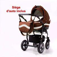 Poussette / Landau combiné 3en1 multifonctions avec siège-auto & équipement bébé enfant MARSEL Sport Marron - Beige