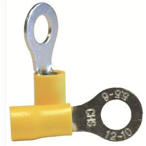 VOLTMAN Boîte de 10 cosses rondes - Section 6 mm pour fils de 2,5 ? 6 mm - Jaune