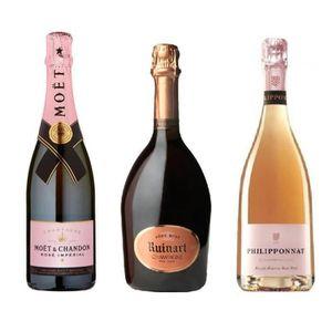 CHAMPAGNE Lot Découverte de 3 Champagnes Rosé 75cL