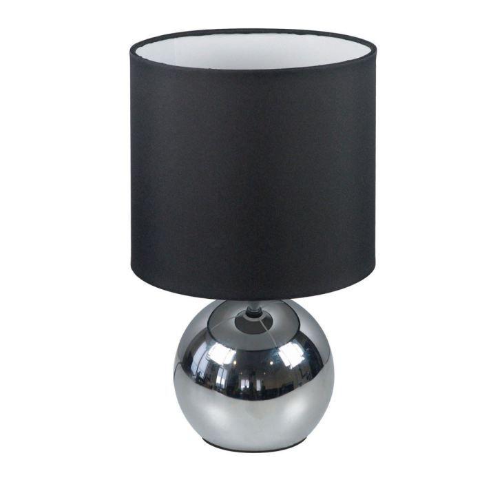 Lampe A Poser Tactile 3 Intensites Coloris Chrome Abat Jour Tissu