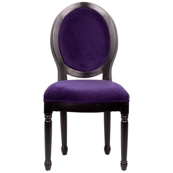 Chaise médaillon Louis XVI en velours aubergine - Achat