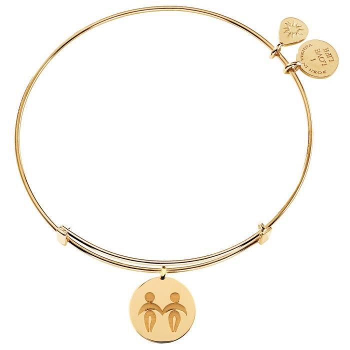 laVIIDA - Bracelet laVIIDA Femmes Zwilling Zodiac Argent doré 19 cm Réf 50705