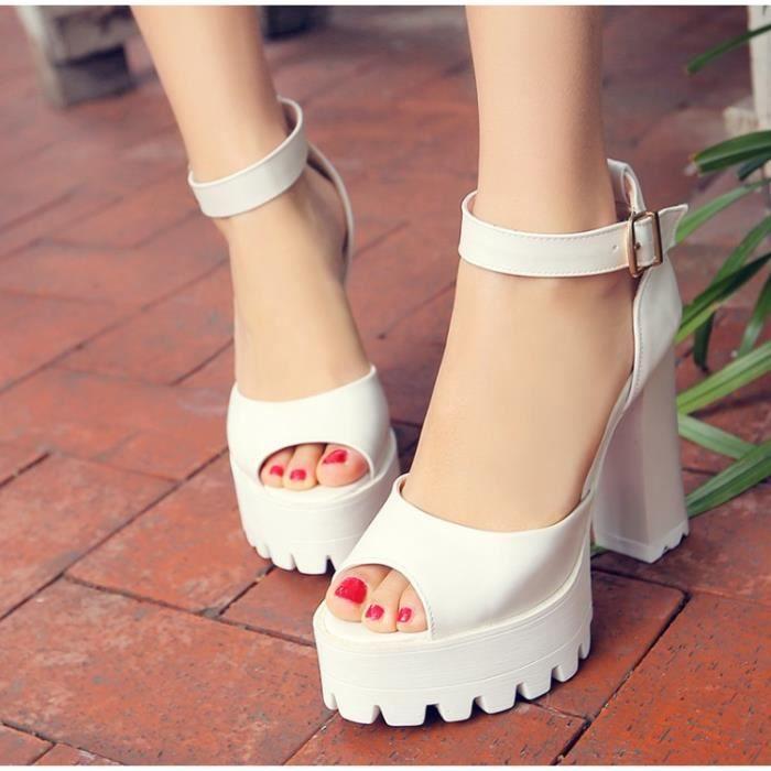 des sandales femmes solide ouvrir à Blanc uZiUYQ