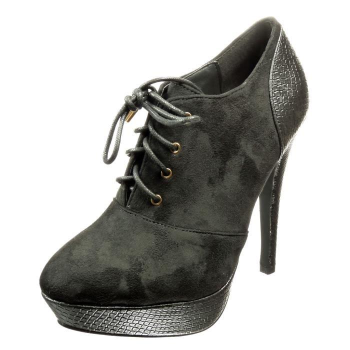 Angkorly -Bottine low boots stiletto plateforme femme peau de serpent Talon haut aiguille 12 CM CM - Noir - 899-11