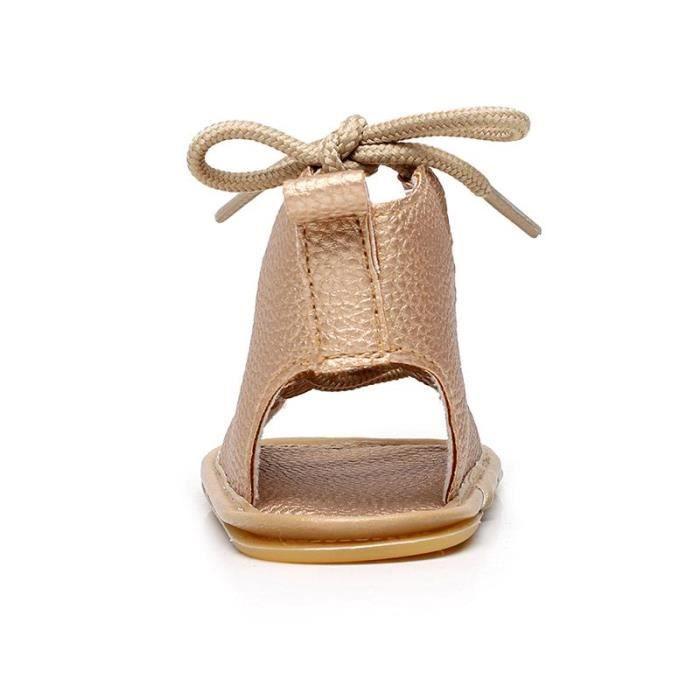 Chaussures Bébé montant Scandales Spartiate frais de Couleur Noir ma01MyK7