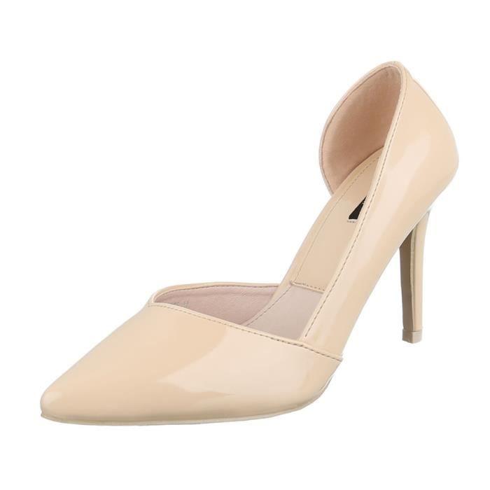 femme escarpin chaussure High-Heels Mules mule sandalette Stiletto Beige