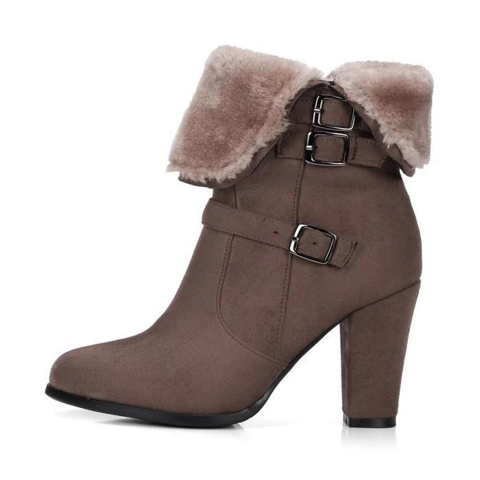 bottines femme fourrées à talon 9cm avec bouton d'argent boots chauds en hiver