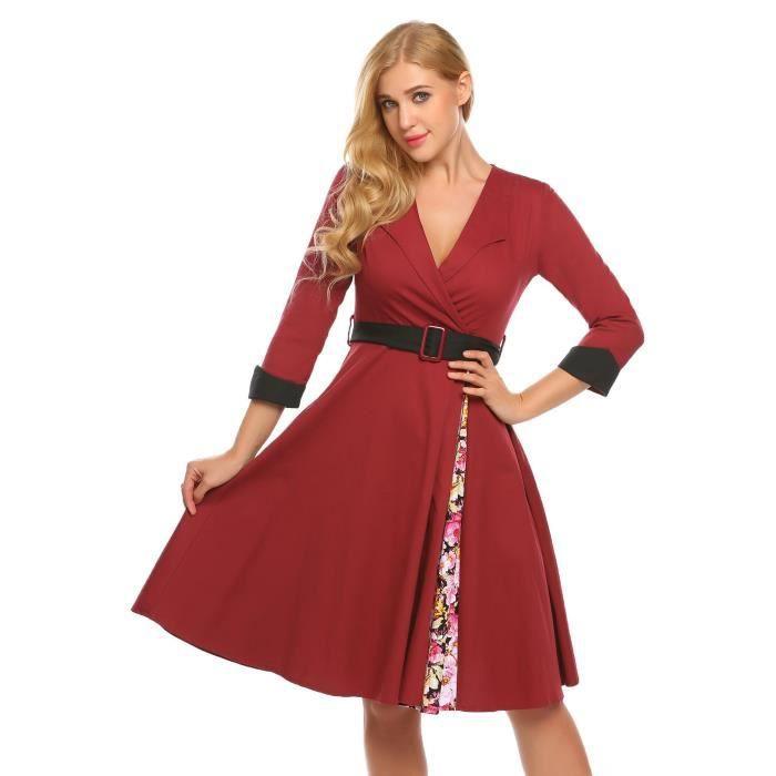 Femmes robe enveloppement imprimé patchwork style vintage V-cou manches 3-4