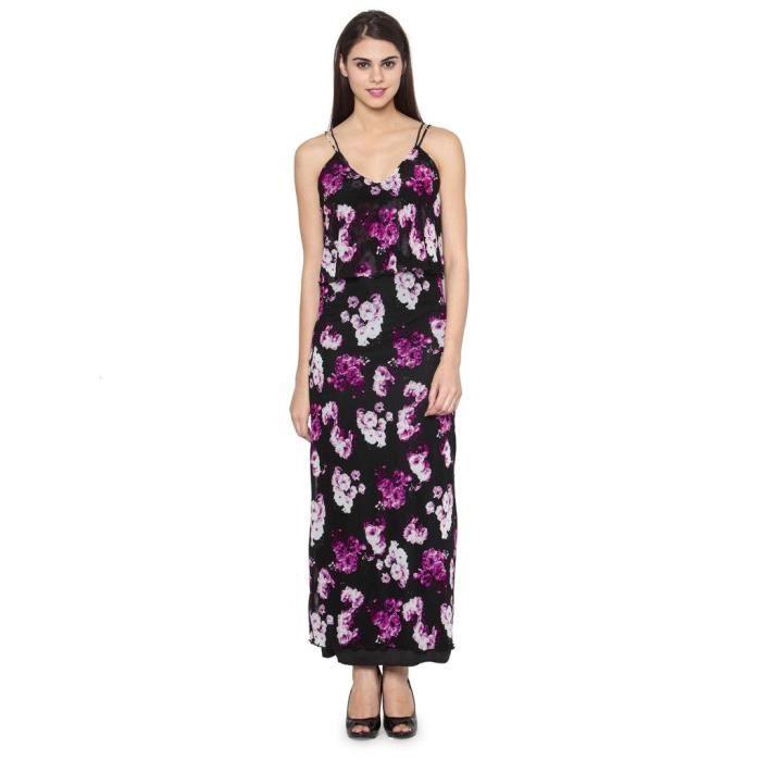 Femmes Imprimé Floral Violet Maxi Dress 1DVS31 Taille-38