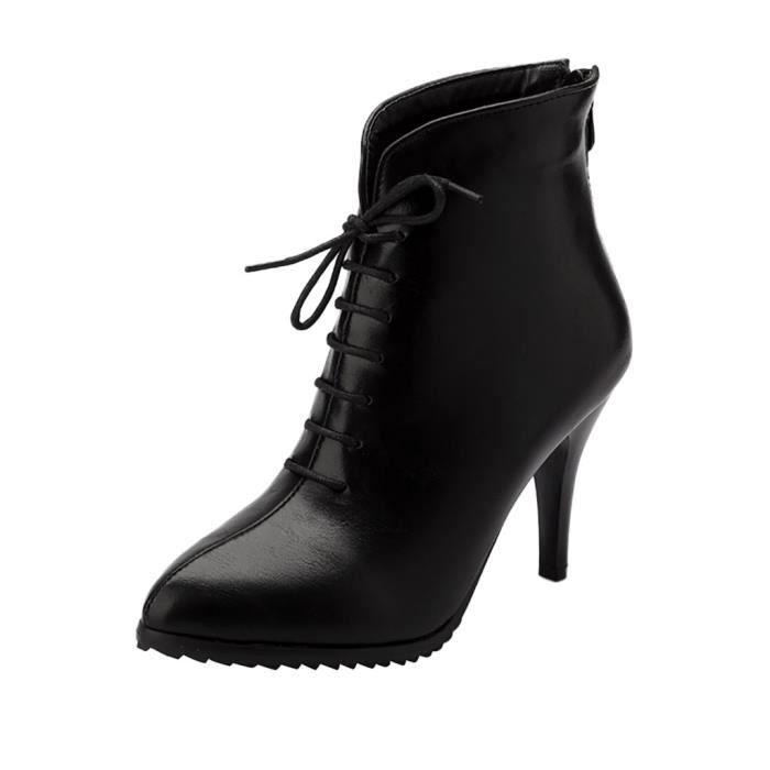 Rétro Zipper Stiletto Bottines conforpo Bottes talon Chaussures 11742 femme haut lacets k8wPNXn0O