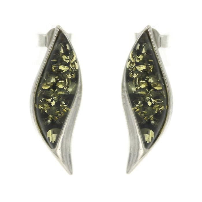 Womens Wave Stud Earrings With Green Amber 1QP36K