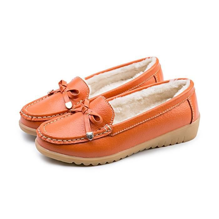 Leather Plush Moccasin Loafer Driving Shoes Slip On Flexible Casual Slippers Flat Shoes LS7JI Taille-37 1-2 2BvE1RPrC