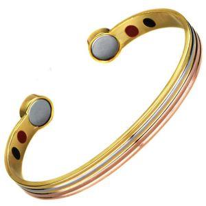 BRACELET - GOURMETTE Bracelet magnetique aimante Cuivre or argent 2 aim