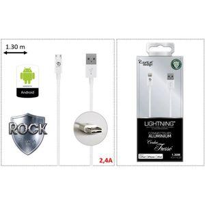 CÂBLE RÉSEAU  Câble Micro USB réversible (ANDROID) - BLANC
