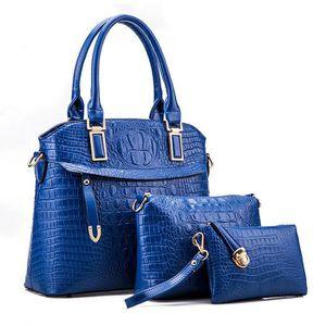 SAC À MAIN Bleu Femmes Sac Haut-Poignée de Crocodile En Relie