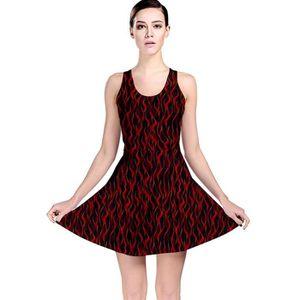 72b6b67a620 robe patineuse réversible sans couture flamme rouge foncé enfer feu femme  URWO8 Taille-32