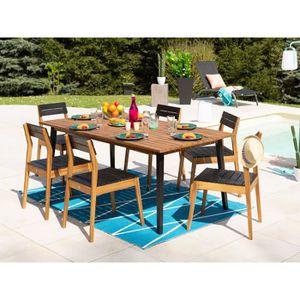 Salon jardin 6 places acacia FSC : table + 6 chaises CEYLAN noir ...
