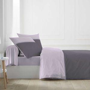 HOUSSE DE COUETTE ET TAIES Parure de lit bicolore gris/rose 240x220