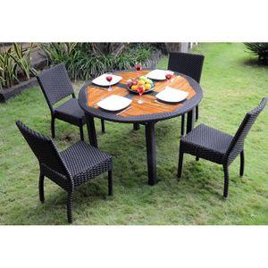 Salon table ronde et 4 chaises en teck et résine tressée - Achat ...