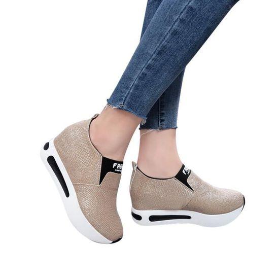 Femmes plat épais Chaussures Bas Slip Bottes cheville plate-forme Casual Chaussures de sport qinhig526  Or - Achat / Vente slip-on