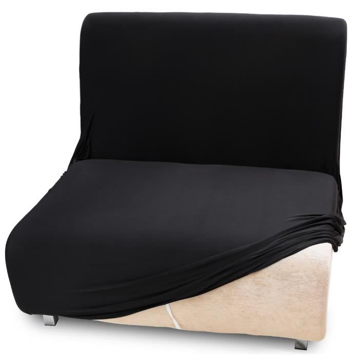 housse de canap velout lastique extensible 1 place noir rev tement couverture protecteur. Black Bedroom Furniture Sets. Home Design Ideas