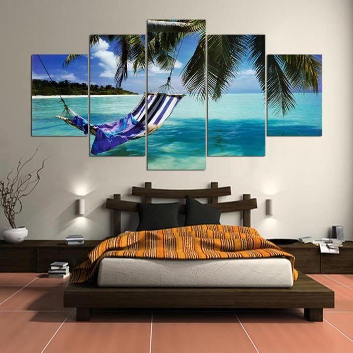 belle vue sur la mer paysages paysage tableau modulaire peinture pour salon chambre peinture 5. Black Bedroom Furniture Sets. Home Design Ideas