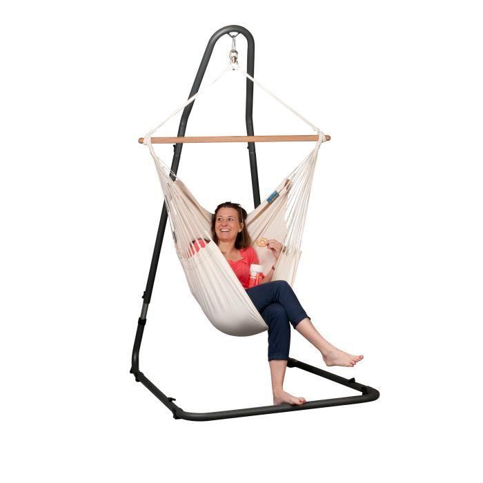 hamac chaise sur pied 1 place cru achat vente hamac hamac chaise sur pied 1 pla cdiscount. Black Bedroom Furniture Sets. Home Design Ideas